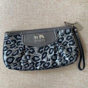 Grey silver metallic leopard print Coach wristlet